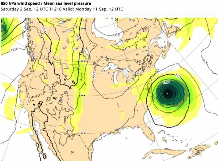 Blir dette værsituasjonen mandag om en drøy uke? (Bilde: ECMWF)