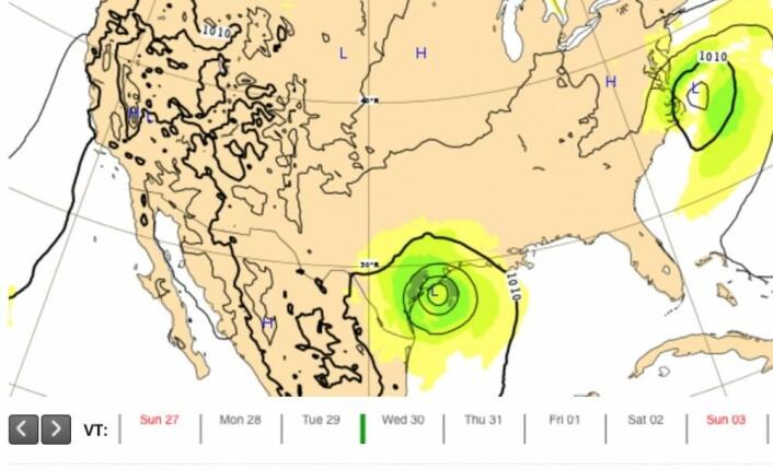 ECMWF-prognosen for natt til onsdag (produsert natt til søndag). (Bilde: ECMWF)