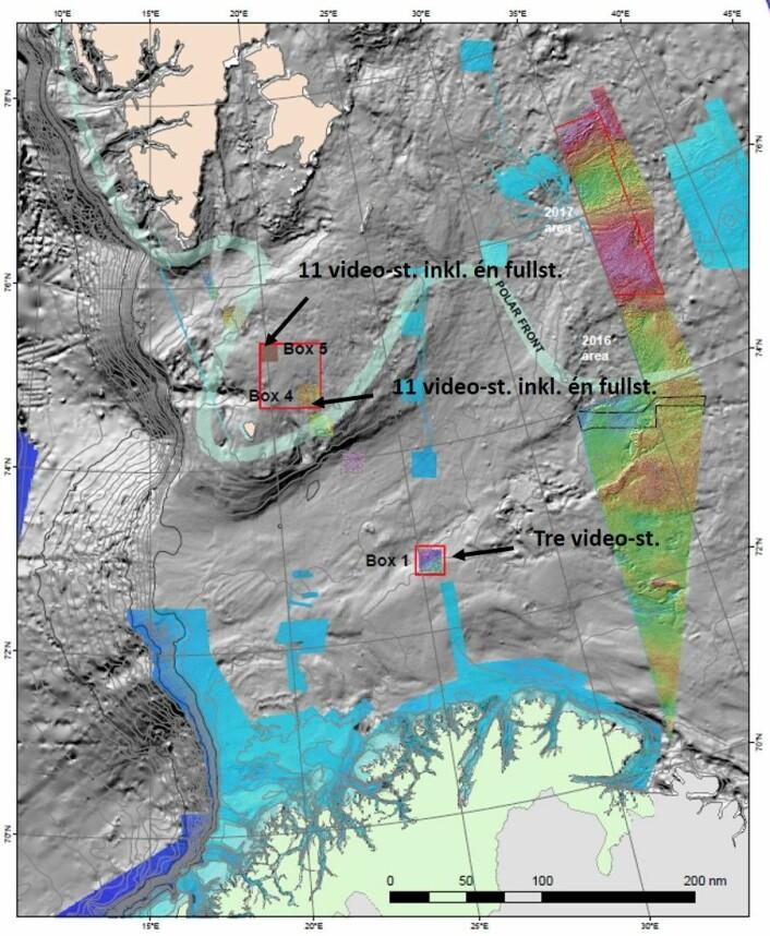 22 lokaliteter skal undersøkes ved Bjørnøya og tre mellom Bjørnøya og fastlandet. Arealet til høyre i figuren viser det nye norske området i Barentshavet der Mareano skal samle inn videodata de siste to ukene av toktet. Foto: Mareano