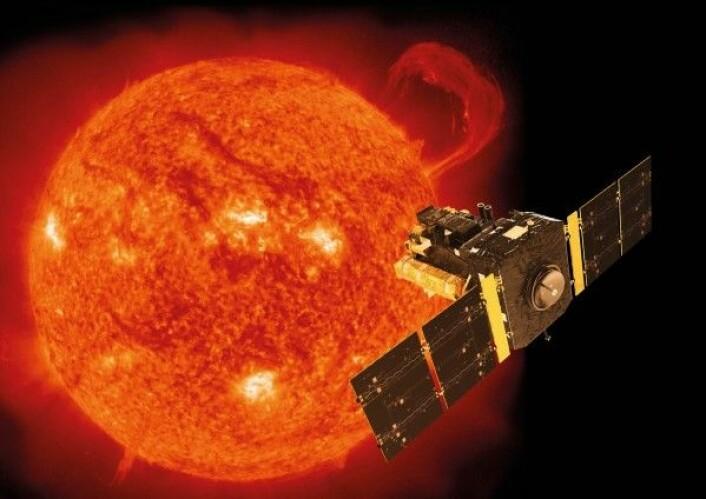 NASA og ESAs solsonde SOHO (SOlar Heliospheric Observatory) har forsket på sola siden 1998. ESA/NASA/ATG medialab