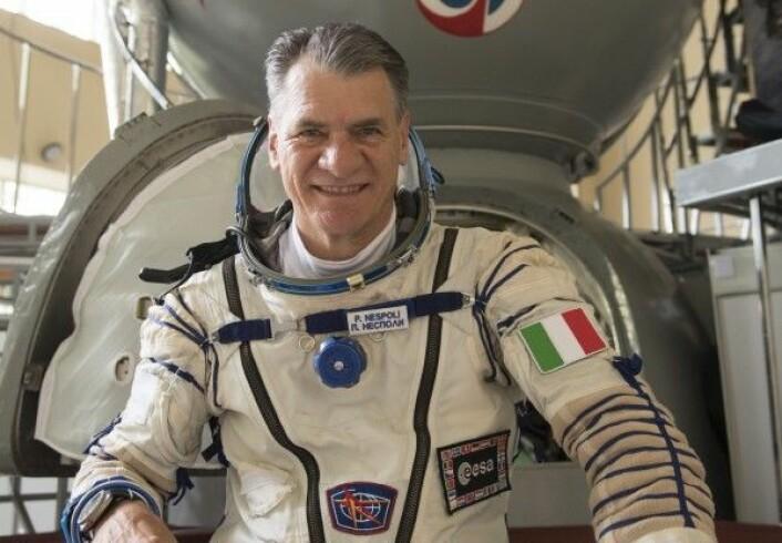 Den italienske romfareren Paolo Nespoli før hans tredje oppskyting til romstasjonen 28. juli 2017. ESA
