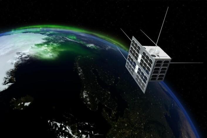 De norske satellittene NorSat-1 og 2 ble skutt opp 14. juli 2017. Illustrasjon av NorSat-1: T. Abrahamsen