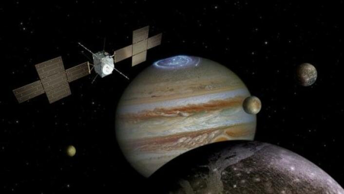 ESAs romsonde Juice skal undersøke Jupiter (i bakgrunnen) og ismånene Ganymedes (i forgrunnen), Europa (midten) og Callisto (til høyre). Ikke i riktig skala. ESA/ATG medialab/NASA/J. Nichols/JPL/University of Arizona/DLR