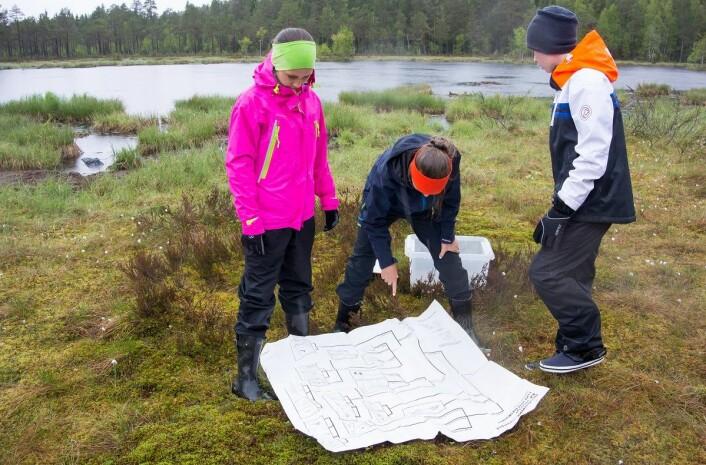 Elvene fikk bruke en plastbelagt bestemmelsesnøkkel til å finne ut hva slags dyr de fant. (Foto: Børre K. Dervo ©)