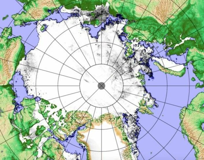 Det ligger fortsatt en del sjøis både i Nordøstpassasjen og i Nordvestpassasjen. (Bilde: PolarView/Univ Bremen)