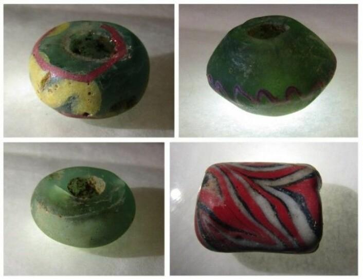 Et utvalg av perlene fra graven Foto: Camilla Cecilie Wenn. Kulturhistorisk museum, Uio