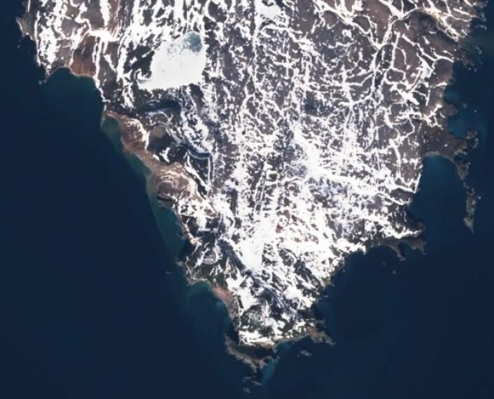 Sydspissen av Bjørnøya, observert 7. juni fra satellitten Sentinel-2A. (Bilde: Copernicus Sentinel Data 2017)
