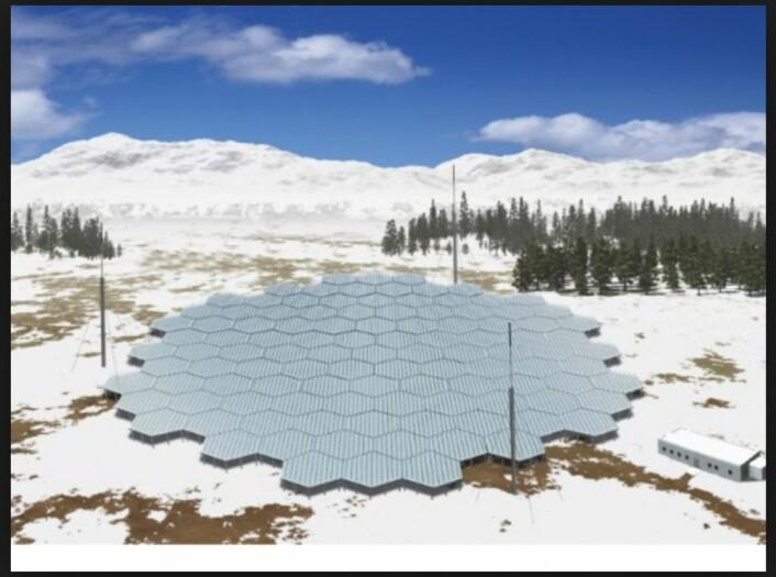 EISCAT_3D skal ha store antenneparker flere steder på Nordkalotten for å avdekke flere av nordlysets hemmeligheter. (Illustrasjonsbilde)