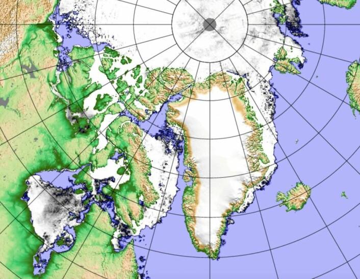 Dagens sjøiskart, basert på passiv mikrobølgemåling fra japansk satellitt. (Bilde: PolarView/Univ Bremen)