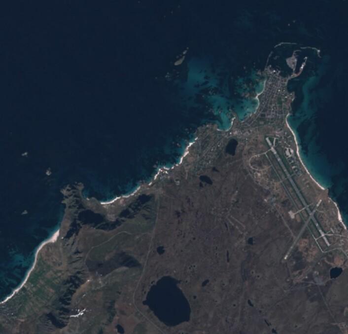 Andenes sett fra Sentinel-2 torsdag 8. juni. (Bilde: Copernicus Sentinel data 2017).
