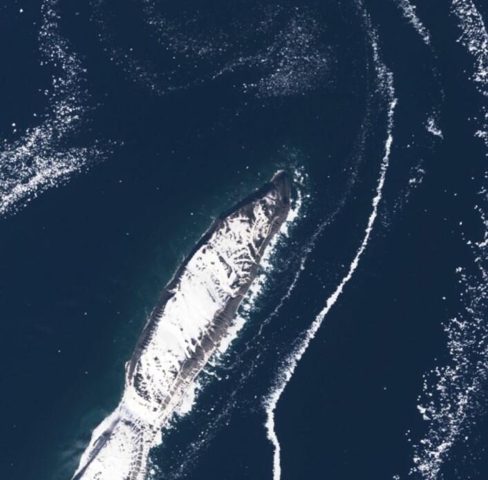Nordspissen av Hopen, og litt sjøis, sett fra Sentinel-2 torsdag 8. juni. (Bilde: Copernicus Sentinel data 2017).