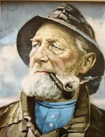 Klassisk maleri av sjømann med pipe. (Ukjent kunstner)