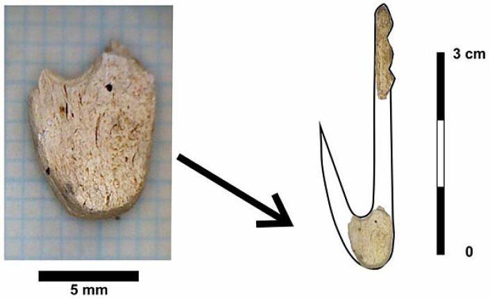 Figur som viser hvordan fragmentene utgjør deler av fiskekroker. (Illustrasjon: Per Persson/KHM)