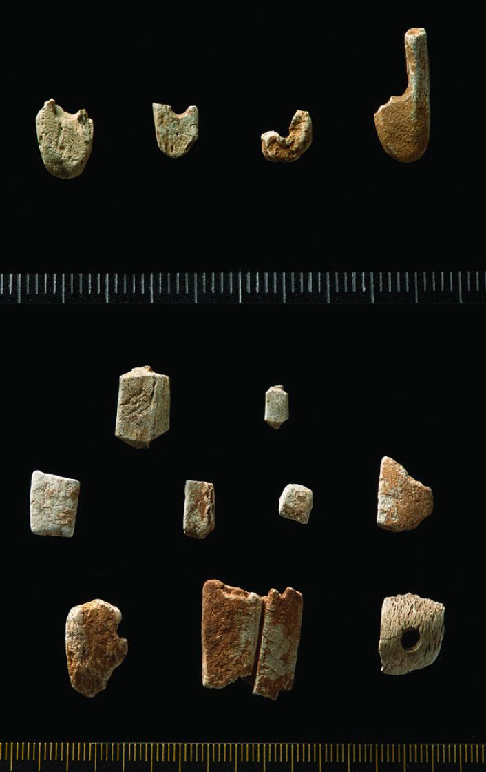 Øverst: Brente fragmenter av fiskekroker, datert til cirka 7500 f.Kr. Nederst: beinrester etter produksjon av fiskekroker. (Foto: Kirsten J. Helgeland/KHM)