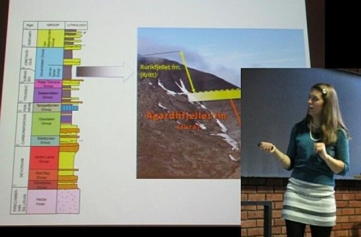 Jeg får fortelle om fossilene fra Svalbard for en gjeng lærere. Moro med stratigrafi! (Foto: Gunn Kristin Tjoflot)