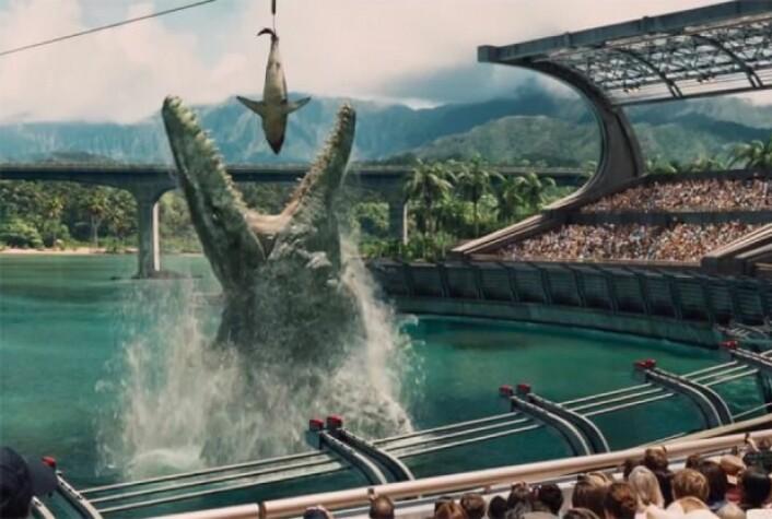 Mosasaurshow i Jurassic World. (Foto: Jurassic World)