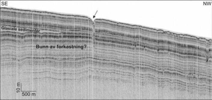 TOPAS-linje som krysser forkastningssonen med stor vinkel. Forkastningen synes å dø ut ca. 50 m under bunnen. Lagene under dette nivå fortsetter uforstyrret. Se Fig. 2 for plassering. (Foto: MAREANO)