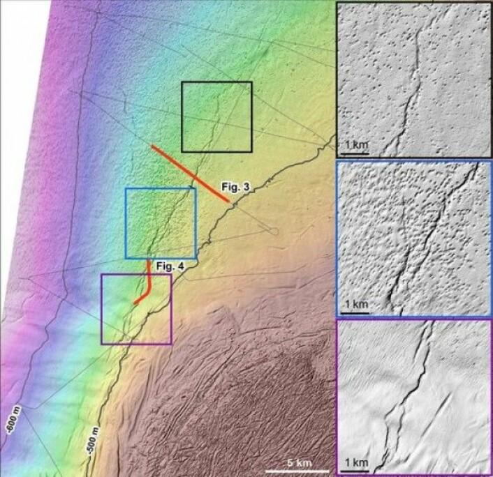 Skyggerelieffkart av bunnen (se Fig. 1 for plassering), med markering av TOPAS-linjer som krysser sprekkene (svarte tynne linjer). Tre forstørrete kartutsnitt viser enkelte detaljer av sprekkesonens karakter. Legg også merke til forekomsten av pockmark i området.(Kart: MAREANO)