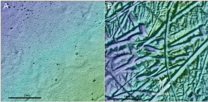 Havbunnsrelieff fra to områder som viser områder med pockmarks (A) og pløyemerker etter isfjell samt korallrev (B).(Foto: MAREANO)