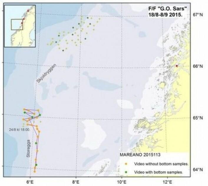 Oversiktskartet viser hvilke lokaliteter som har blitt filmet og prøvetatt (grønne punkter) og hvilke som kun har blitt filmet (oransje punkter).(Kart: MAREANO)