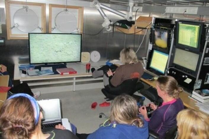 Videorommet - her følger forskere og teknikere med på hva som filmes på havbunnen. (Foto: MAREANO)
