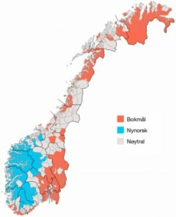 Eit kart over offisielle målformer i norske kommunar(Ill.: Wikimedia Commons)