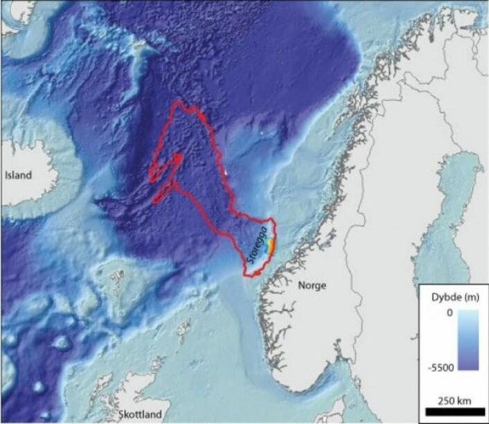 Kart som viser utbredelsen av Storeggaraset med rødt omriss. Skredavsetningene strekker seg 810 km fra bakkanten av skredet ved Storegga og ut i den dypeste delen av Norskehavet. Storneset, som kartlegges på dette toktet, er vist med farger og blått omriss. (Kart:MAREANO)