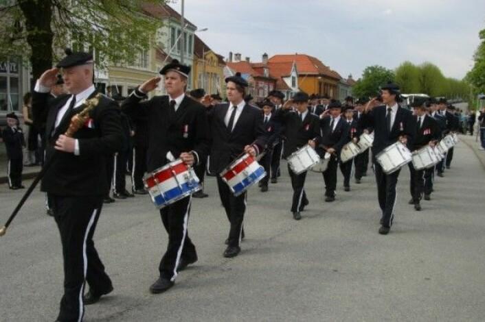 Trommeslagarar i bogekorpset Nordnæs Bataillon Kjelde: Wikipedia. (Foto: Nina Aldin Thune)