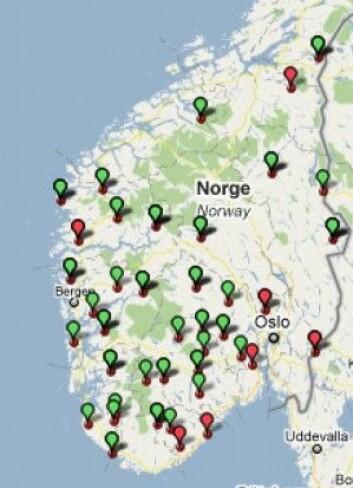 Kart 2. Distribusjon av de (grøne bobler) og di (raude boblar) som former for personleg pronomen 2. pers. fleirtal i Nordisk Dialektkorpus