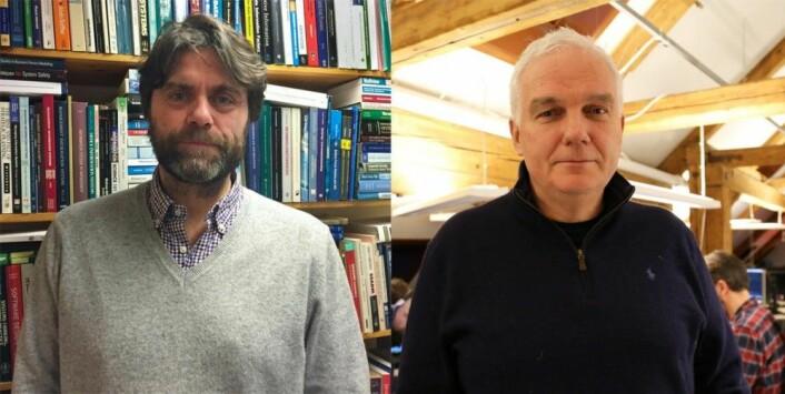Prosjektleder for News Angler og professor ved UiB Andreas L. Opdahl og administrerende direktør i Wolftech Arne Berven mener at samarbeidet er en vinn-vinn-situasjon, og fremhever at de nå får økt sin kompetanse innen semantisk analyse. (Foto: Ingrid Aarseth Johannessen, UiB)
