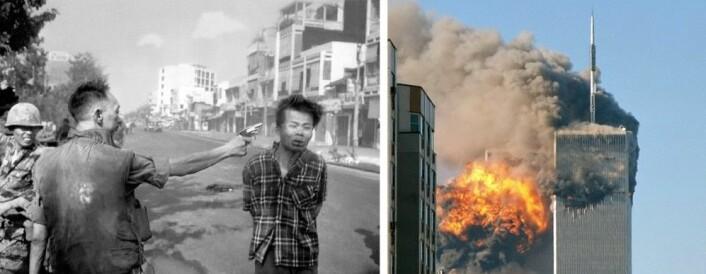 """Bilder som endret verdenshistorien: Brutale fotos bidro til at Vietnamkrigen ble avsluttet, mens bildene av tvillingtårnene i brann førte til invasjon i Afghanistan. (Foto: Til venstre – AP Photo, Eddie Adams, File. Til høyre – Robert <a href=""""https://creativecommons.org/licenses/by-sa/2.0/deed.en"""">CC-BY-SA 2.0 Generic</a>."""