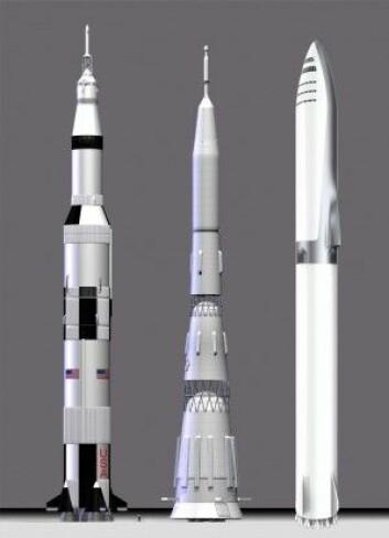 Fra venstre: USAs månerakett Saturn V, den sovjetiske N1 og BFR ved siden av hverandre. (Illustrasjon: Saturn V/N1 av EBS08, CCBY 3.0, BFR fra Elon Musks foredrag på romkongressen i Australia 29.9.2017, satt sammen av forskning.no)