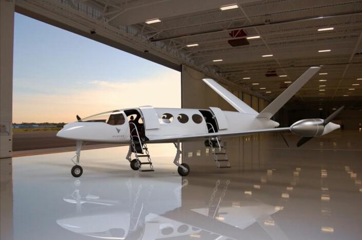 """El-flyet Eviation Alice skal ifølge planene få et vingespenn på 13,5 meter og fly i 10 000 meters høyde. Skroget er laget av karbonkompositt-materiale. (Illustrasjon: <a href=""""http://www.eviation.co"""">www.eviation.co</a>)"""