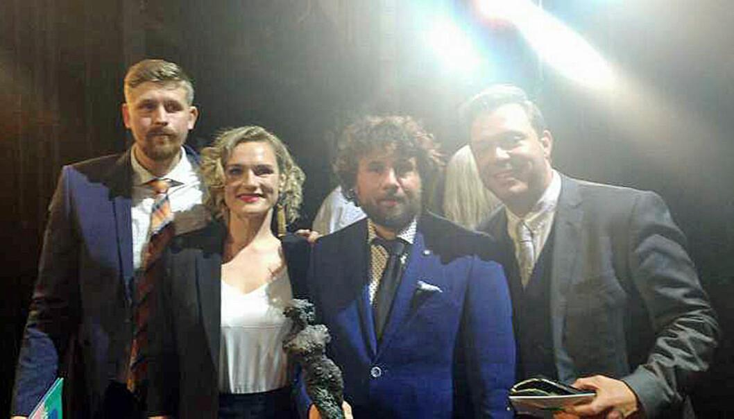 Fra venstre Alexander Rindestu, Kristine Myhre Tunheim, Morten Røsrud og Jonas Delerud. (Foto: Jenny Svensson)