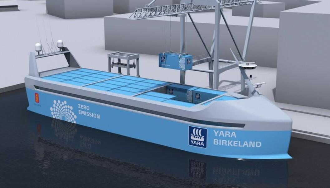 I 2020 får trolig det første autonome skipet i verden vann under kjølen. Mennesker erstattes av datamaskiner, GPS, radar, kameraer og sensorer. Skipet skal gå mellom havner i Telemark og Vestfold.  (Bilde: Yara)