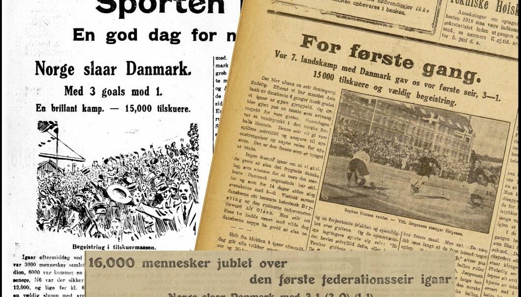 Norske aviser gikk av hengslene da Norge endelig vant sin første seier. (Illustrasjon: Eivind Torgersen, faksimiler fra Aftenposten, Dagbladet og Morgenbladet 17. juni 1918)r