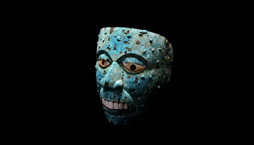En turkis-maske av den Aaztekiske ildguden. Den er laget en gang mellom 1400 og 1521.  (Foto: © Hans Hillewaert/CC BY-SA 4.0)