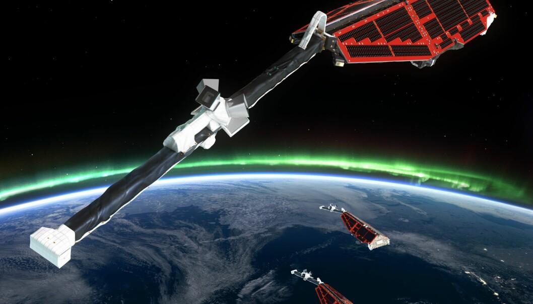 ESAs forskningssatellitter Swarm undersøker jordas magnetfelt og indre. Nå har de også klart å måle havets magnetfelt.  (Grafikk: ESA/ATG medialab)