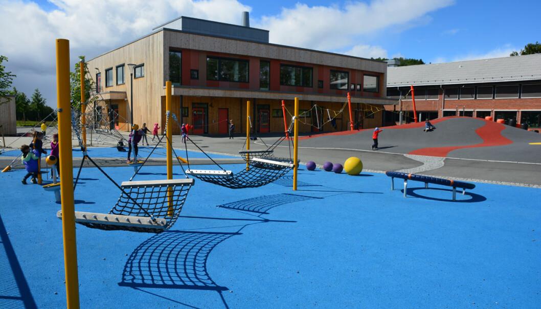 Nesheim skole i Levanger er en grunnskole for første- til sjuendeklasse med 380 elever. Fra høsten 2018 er de en av fire nye universitetsskoler som har inngått et samarbeid med Nord universitet.   (Foto: Bjørnar Leknes)