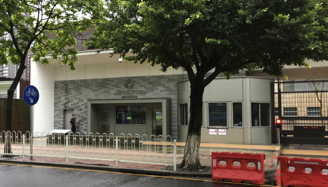 Det amerikanske konsulatet i Guangzhou i Kina. Flere ansatte skal være evakuert etter rapporter om uforklarlige helseplager. (Foto: Kelvin Chan, AP/NTB scanpix)