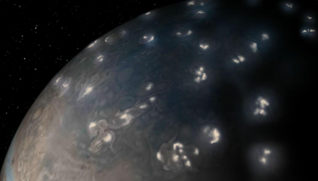 Massevia av lyn på Jupiters nordlige halvkule sett av sonden Juno. (Foto: NASA/JPL-Caltech/SwRI/JunoCam)