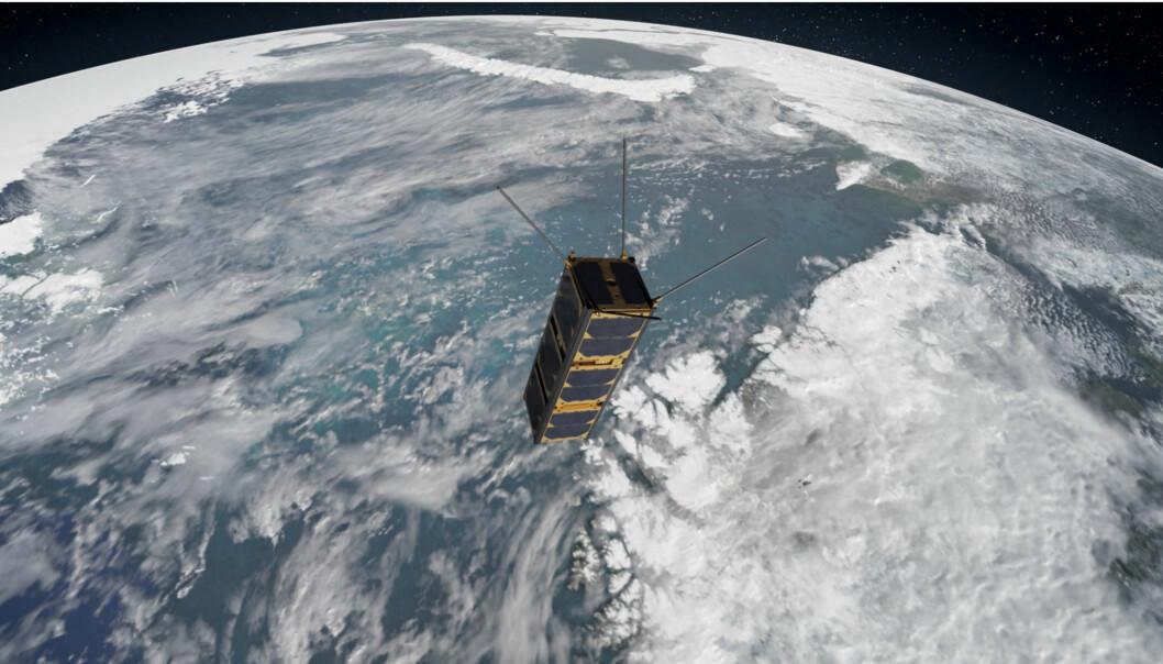 Ved NTNU bygger forskere to små satellitter som skal gå i bane over polene, 500 kilometer oppe i lufta med en fart på 25 000 kilometer i timen.  (Illustrasjonsbilde: BugAs/GOMspace/NTNU)