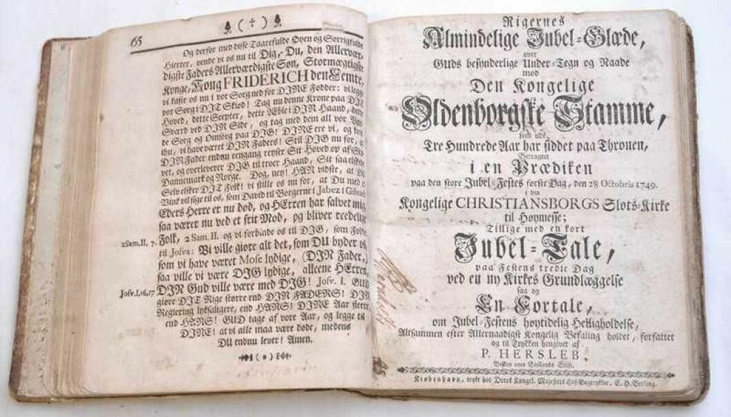 Danmark-Norge var helt fram til 1814 et teokrati – et samfunn der monarkens styre var Guds styre. Mange av datidens prekener ble trykt og kan leses i dag.  (Foto:  Digitalt Museum, CC NC-BY-SA 4.0)