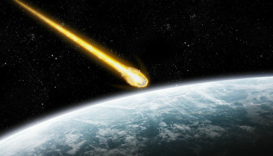 Mange forskere mener en asteroide traff jorden og drepte dinosaurene. Men hva som senere skjedde med klimaet, har vært omgitt av mystikk. En ny studie gir nå et sjeldent innblikk i perioden etter nedslaget.  (Illustrasjon: Colourbox)