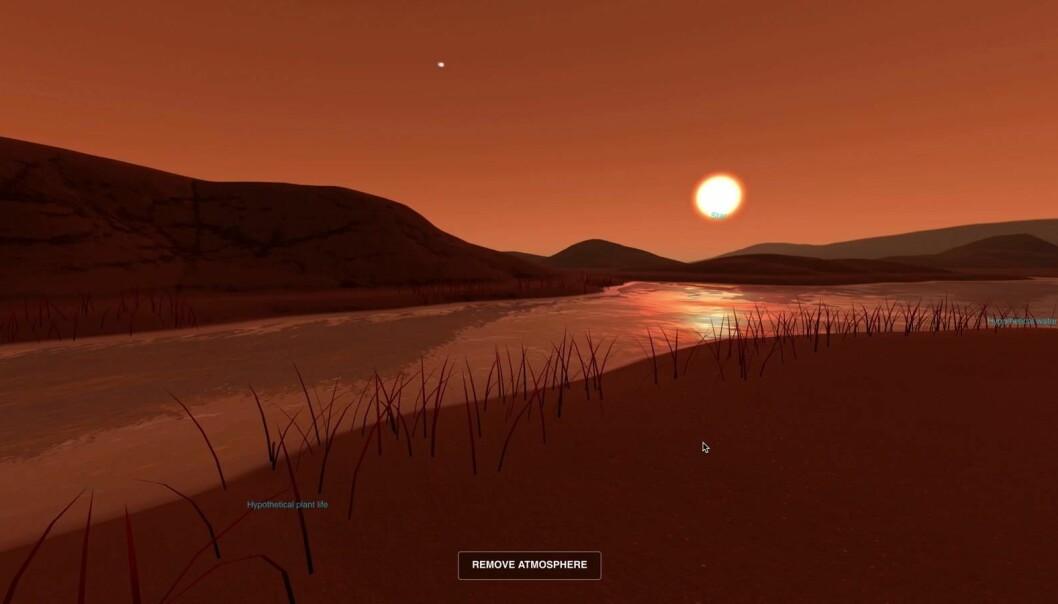 Kanskje ville overflata av Kepler-186f sett ut slik, med vann og vegetasjon? Eller kanskje ikke. Planeten ligger over 500 lysår fra jorda, så det er ikke så mye vi vet om den. Men det er lov til å spekulere.  (Illustrasjon: NASA)