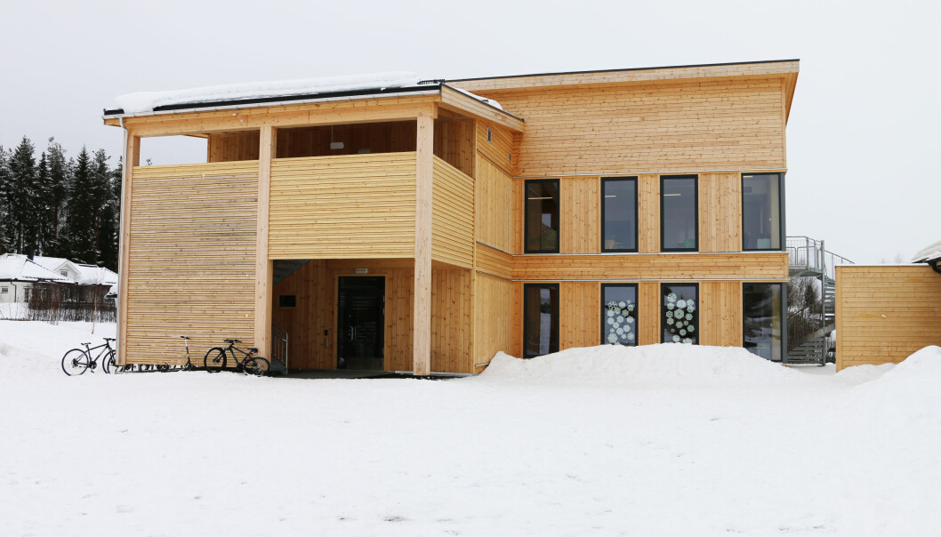 Det nye skolebygget på Hanstad barne- og ungdomsskole stod ferdig i vinter. (Foto: Hanne Kure Bjugstad, Elverum Kommune)