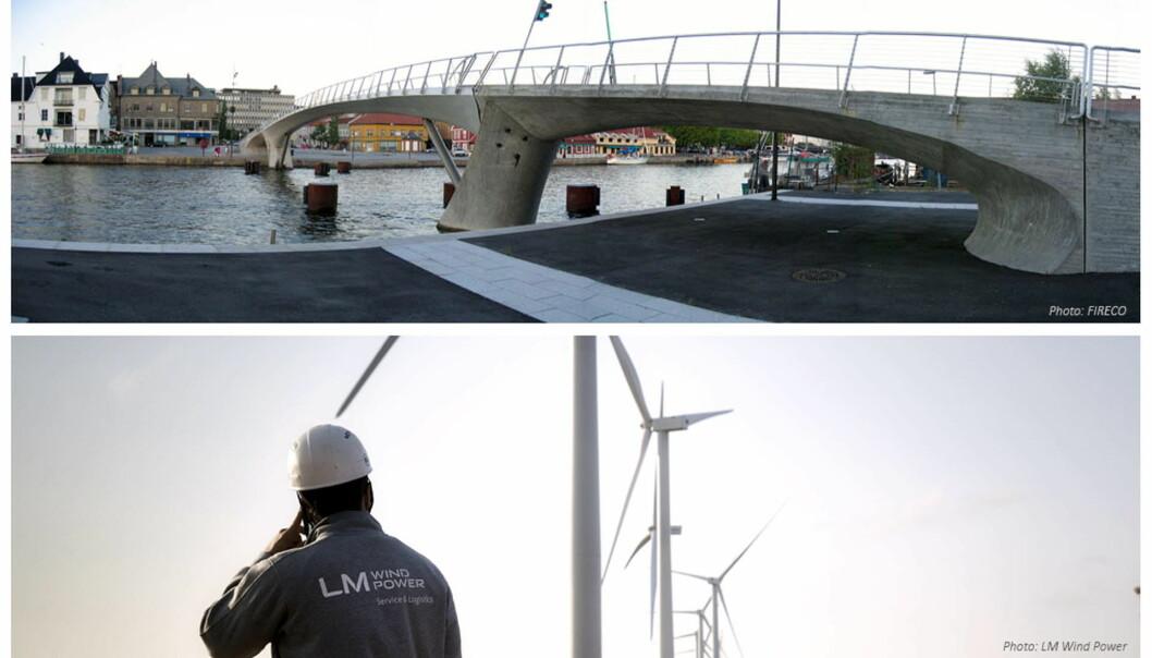 Forskning på materialer kan gi billigere broer og mer pålitelige vindmøller. (Foto: FIRECO og LM Wind Power)