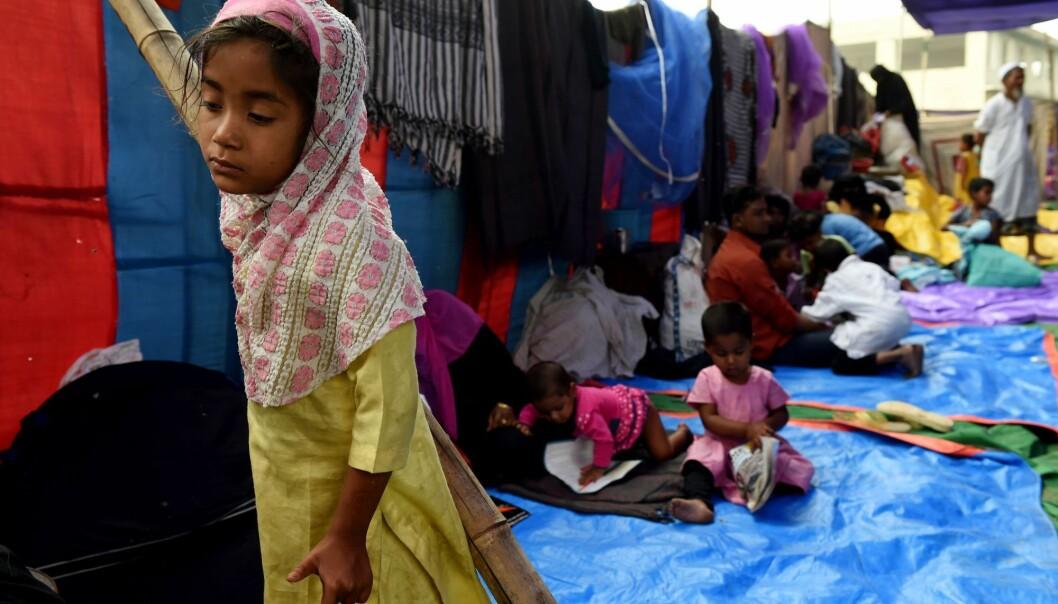 De muslimske Rohingyaene i Myanmar har i flere tiår blitt utsatt for forfølgelser. Landets gryende demokratisering har paradoksalt nok ført til en eskalering av forfølgelsene. Over 700 000 rohingyaer er nå på flukt. Her fra en flyktningleir i New Delhi i april 2018. (Foto: AFP Photo / Money Sharma)