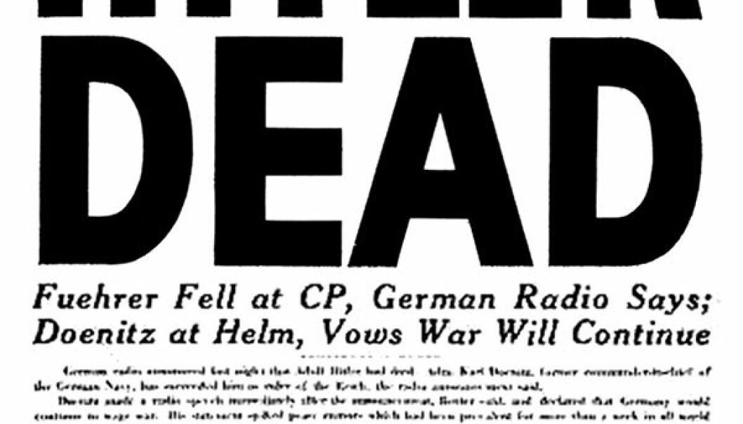 Her er oppslaget om Hitlers død i den amerikanske hæravisa Stars and Stripes 2. mai 1945.  (Fra Bundesarchiv, Bild 183-S62600 / CC BY-SA 3.0 DE)