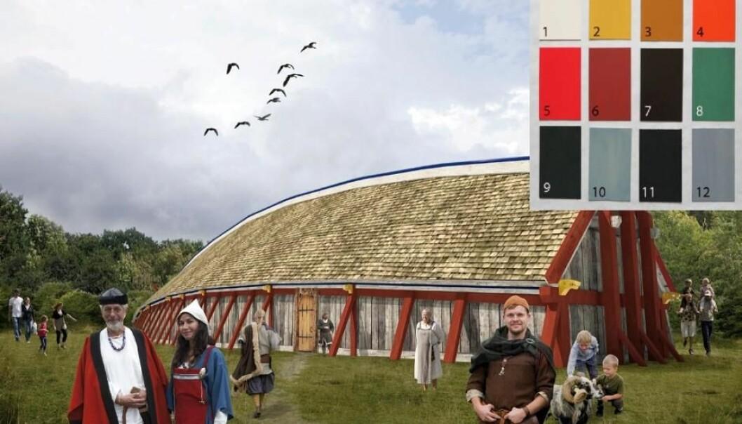 De malte husene sine med blant annet oker- og trekull-pigmenter. Se fargepaletten sist i artikkelen.  (Foto: Sagnlandet Lejre)